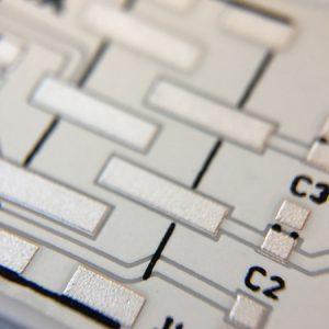 Alumina 96 PCB with silver conductors and white glas encapsulant